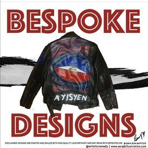 Other - Custom Moto Jacket Leather Paint Design sz L Mens
